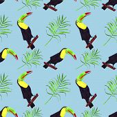 Seamless Watercolor Illustration Of Toucan Bird.tropical Leaves, Dense Jungle. Hand Painted. Pattern poster