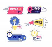 Quick Tip. Tricks Quick Tips Solution Logos Helpful Advice Text Shapes Isolated Vector Labels. Illus poster