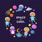Space Animals Background. Cute Baby Animal Astronauts Flying Kid Pets Cosmonauts Cartoon Funny Space poster