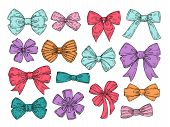 Color Bows. Sketch Fashion Tie Bow Accessories Hand Drawn Doodles Tied Ribbons. Retro Isolated Vecto poster