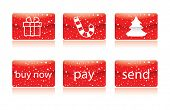 Red christmas button for your website in editable vector format