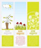 Green conceptual vertical web banner