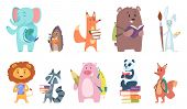 School Animals. Funny Zoo Kids With Backpacks And Other School Equipment Squirrel Elephant Bear Fox  poster