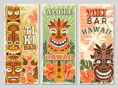 Hawaii Retro Banners. Aloha Tourism Summer Adventure Dancing Party In Tiki Bar Tribal Masks Vector I poster