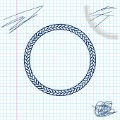 Rope Frame Line Sketch Icon Isolated On White Background. Frames From Nautical Rope. Round Marine Ro poster
