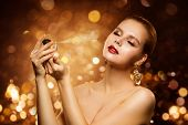 Perfume, Luxury Woman Spraying Fragrance, Aroma And Fashion Model Beauty Portrait poster