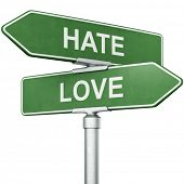 picture of hate  - 3d rendering of signs with  - JPG