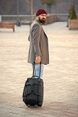Traveler With Suitcase Arrive Airport Railway Station Urban Background. Hipster Ready Enjoy Travel.  poster