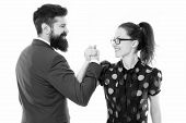 Arm Wrestling Couple. Confrontation In Office. Defeat And Victory. Businessman And Business Woman Le poster