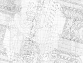 Blueprint - hand draw sketch ionic architectural order. Bitmap copy my vector