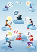 Cloud Computing Men, Women And Icons