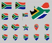 South Africa Flag Icon Set, Flag Of The Republic Of South Africa Symbols poster