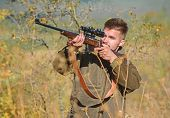 Hunting Permit. Bearded Hunter Spend Leisure Hunting. Hunting Equipment For Professionals. Hunting I poster