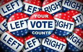 Your Vote Counts Election Badge As A United States Democratic Right For Voting Concept Between The R poster