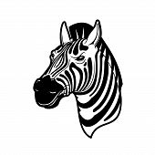 Zebra Animal Icon Of African Safari, Zoo And Hunting Sport Vector Design. Head Of Wild Horse Or Equi poster