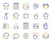 Laundry Line Icons. Dryer, Washing Machine And Dirt Shirt. Laundromat, Hand Washing, Soap Bubbles In poster