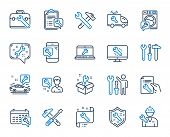 Repair Car Service Line Icons. Set Of Hammer, Screwdriver And Spanner Tool Icons. Recovery, Washing  poster
