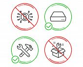 Do Or Stop. Mini Pc, Bitcoin System And Spanner Tool Icons Simple Set. Spanner Sign. Computer, Crypt poster