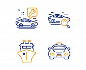 Search Car, Ship And Car Service Icons Simple Set. Taxi Sign. Find Transport, Shipping Watercraft, R poster