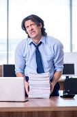 Young employee unhappy with excessive work  poster