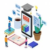 Online Education Isometric Icons Composition With Little People Taking Books From Smartphone Electro poster
