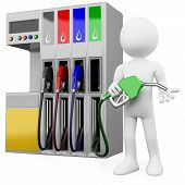 stock photo of high-octane  - 3D worker at a gas station with a petrol pump - JPG