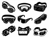 Goggles Icons Set. Simple Set Of Goggles Icons For Web Design On White Background poster