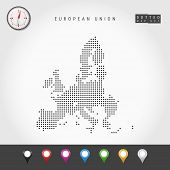 Dots Map Of European Union. Simple Silhouette Of European Union. Realistic Vector Compass. Set Of Mu poster