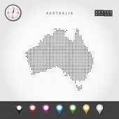 Dots Map Of Australia. Simple Silhouette Of Australia. Realistic Vector Compass. Set Of Multicolored poster