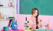 Researches In Science Laboratory. Science Lesson With Microscope. School Laboratory. Modern Technolo poster