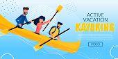Entertaining Flyer Active Vacation Kayaking Flat. Poster People Make An Extreme Rafting Down Mountai poster