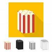 Vector Illustration Of Pack And Popcorn Symbol. Collection Of Pack And Pop Vector Icon For Stock. poster