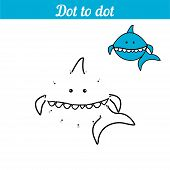 Shark. Coloring - Game By Numbers. Connect The Dots. Educational Card For Preschoolers. Sea Page Wit poster
