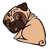 Pug Ready For Sleep Icon. Cartoon Of Pug Ready For Sleep Vector Icon For Web Design Isolated On Whit poster