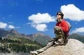 Teens Boy In Mountains Hike In Summer Vocations, Tien Shan