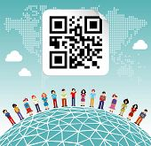 image of qr-code  - Social media network connection concept with social QR code and World map background - JPG