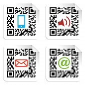 Social Media Icons set mit qr Code Sign Label.