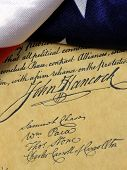 image of preamble  - Constitution of the United States and American Flag - JPG
