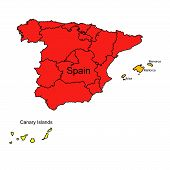 Illustration On The Theme Of Geography And Cartography With A Map Of Spain. poster