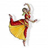 stock photo of bharatanatyam  - illustration of Indian classical dancer performing bharatnatyam - JPG