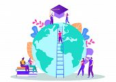 Finish Distance Education. Achive Goal. Man On Stairs On Background Globe. Distance Learning. Lesson poster