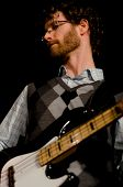 VANCOUVER, CANADA - FEBRUARY 9: jazz band Tambura Rasa. John Bews (bass) on the stage of The Jazz Ce