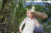 She Radiating Energy. Girl Child Listen Music Headphones. Little Kid Listen Song And Dance. Music Da poster