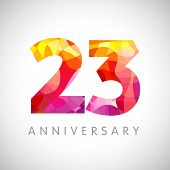 23rd Anniversary Numbers. 23 Years Old Multicolored Logotype. Age Congrats, Congratulation Art Idea. poster