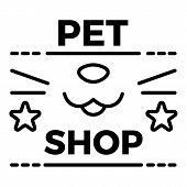 Pet Store Logo. Outline Pet Store Logo For Web Design Isolated On White Background poster