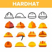 Protective Hard Hat Vector Color Icons Set. Orange Hardhat Equipment Linear Symbols Pack. Builder, C poster