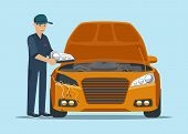 Man Worker Changes Headlights On Yellow Car. Service Station. Smiling Worker In Uniform. Open Hood.  poster
