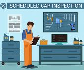 Worker With Notebook In Hand At Service Station. Auto Service. Computer Diagnostics. Uniformed Worke poster