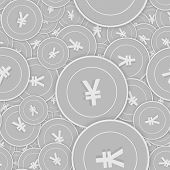Chinese Yuan Silver Coins Seamless Pattern. Ecstatic Scattered Black And White Cny Coins. Success Co poster