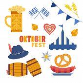 Hand Drawn Oktoberfest Flat Color Vector Icon Set. Oktoberfest Fair Event Celebration Design Element poster